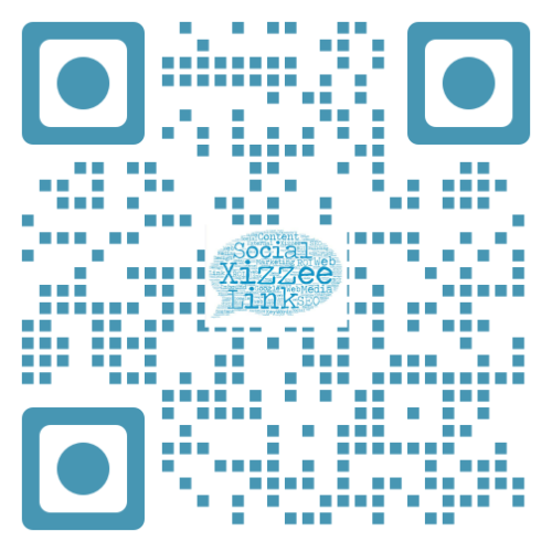 Xizzee Web Design QR Code with logo in center.